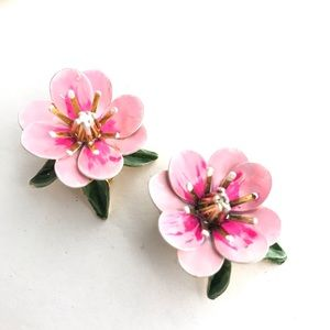 Flower Earrings Pink Retro Enamel Flower Ear Clips
